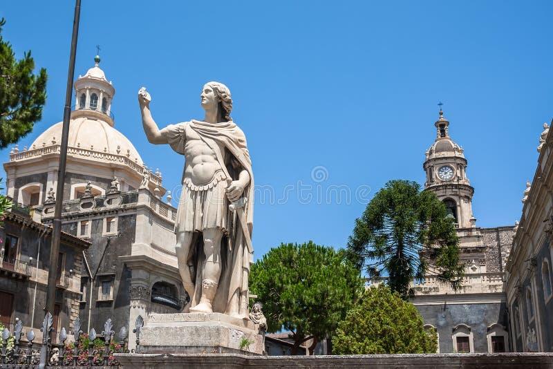 圣诞老人阿佳莎大教堂在卡塔尼亚在西西里岛 免版税库存照片