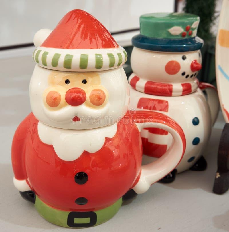 圣诞老人陶瓷杯子 免版税库存照片