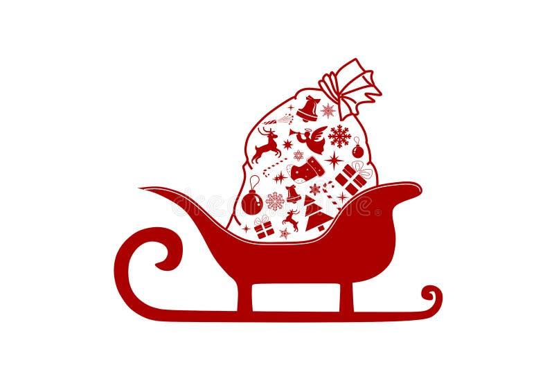 圣诞老人雪撬和礼物袋子 向量例证