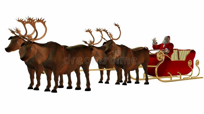 圣诞老人雪撬 向量例证