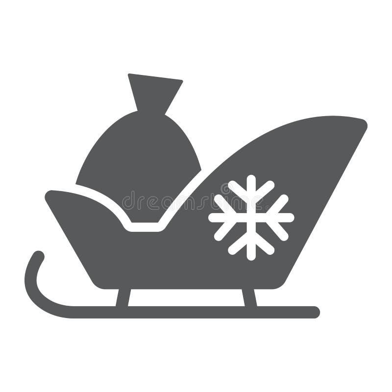 圣诞老人雪橇纵的沟纹象、爬犁和冬天,雪撬标志,向量图形,在白色背景的一个坚实样式 库存例证