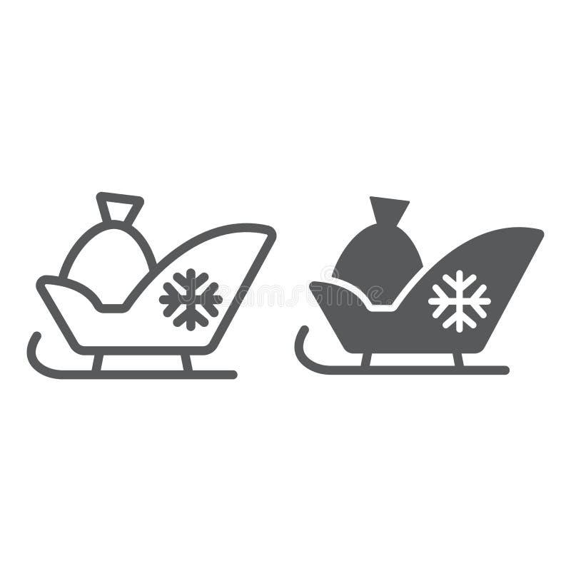 圣诞老人雪橇线和纵的沟纹象,爬犁冬天 向量例证