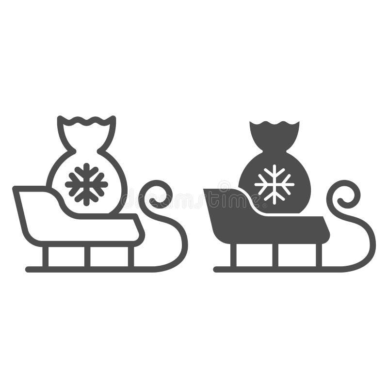 圣诞老人雪橇线和纵的沟纹象 与圣诞老人袋子在白色隔绝的传染媒介例证的雪橇 爬犁概述样式 库存例证