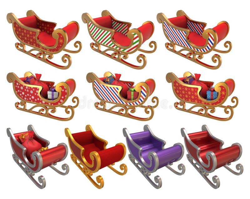 圣诞老人雪橇集合3D 库存照片