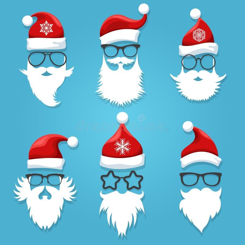圣诞老人面对佩带 向量例证