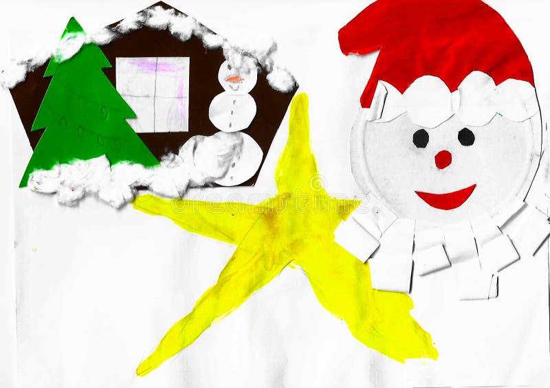 圣诞老人项目、房子、雪人和黄色星,儿童应用 库存例证