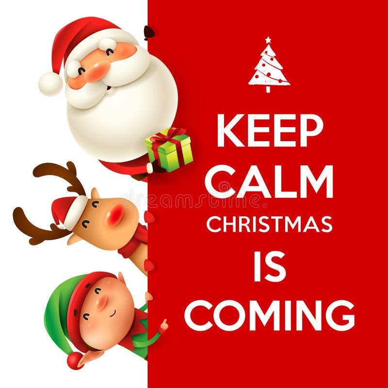 圣诞老人项目、驯鹿和矮子与大牌 向量例证