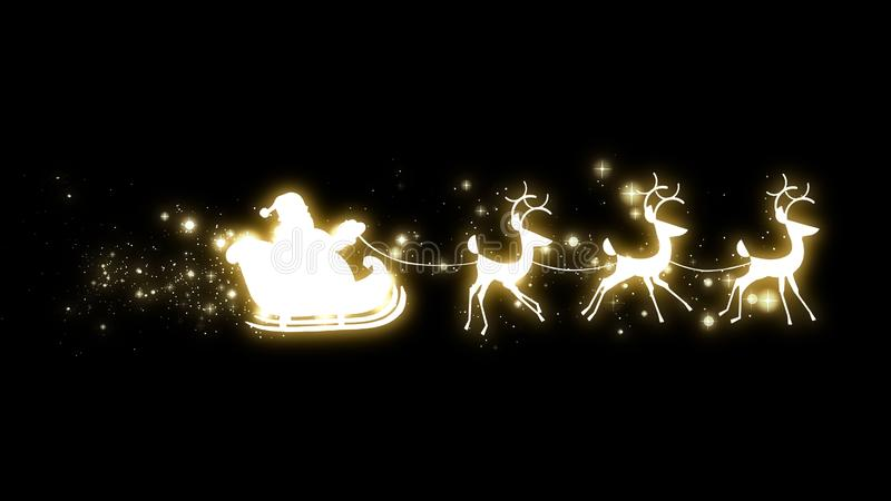 圣诞老人项目在一个雪橇的剪影飞行与驯鹿和金闪烁的星 向量例证