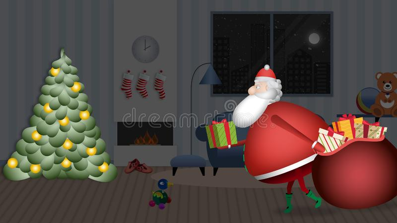 圣诞老人项目在树充分慢慢地进入房子与他的红色大袋礼物离开 向量例证