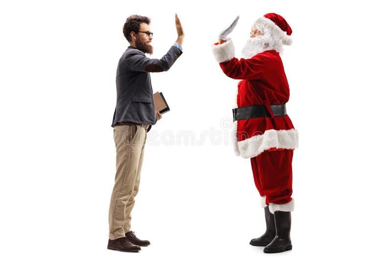 圣诞老人项目教授高的fiving 免版税库存图片
