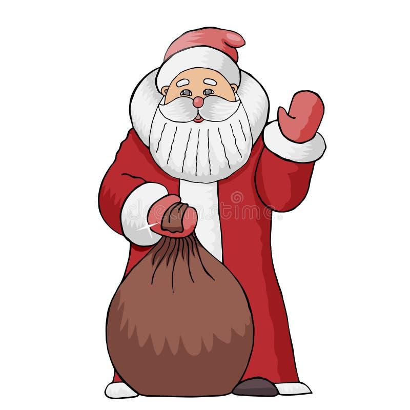 圣诞老人项目的传染媒介例证与袋子的礼物,和蔼可亲地摇了他的手 皇族释放例证