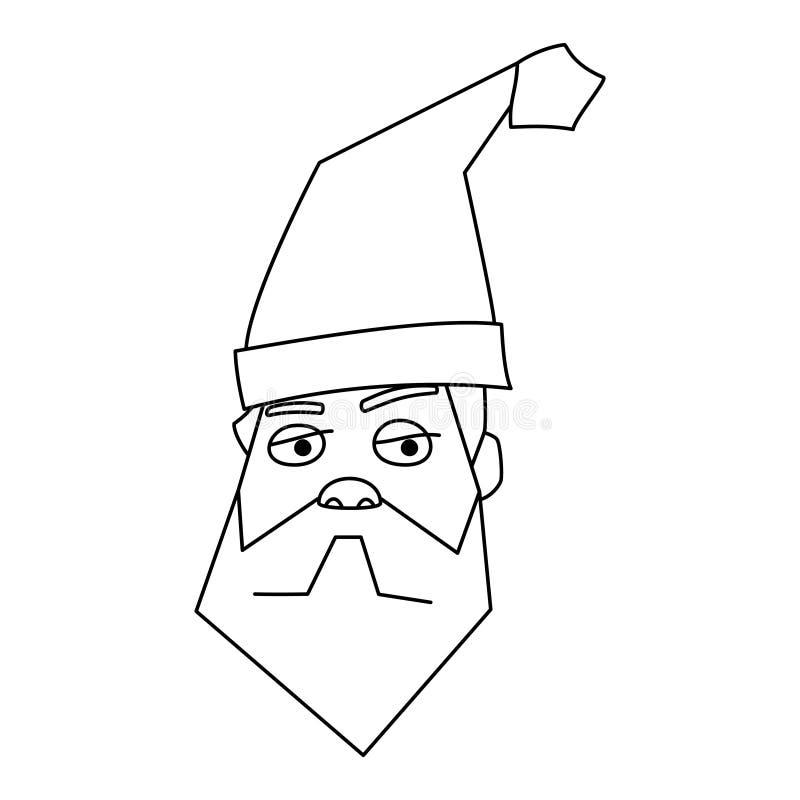 圣诞老人项目面对胡子圣诞节快乐新年象 皇族释放例证