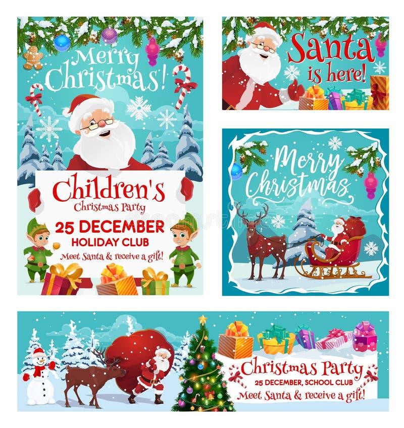 圣诞老人项目,圣诞快乐集会邀请 库存例证