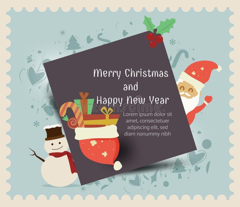 圣诞老人项目,雪人,新年快乐,愉快的贺卡,圣诞快乐,传染媒介,元素,贺卡礼物盒,寒假backg 库存例证