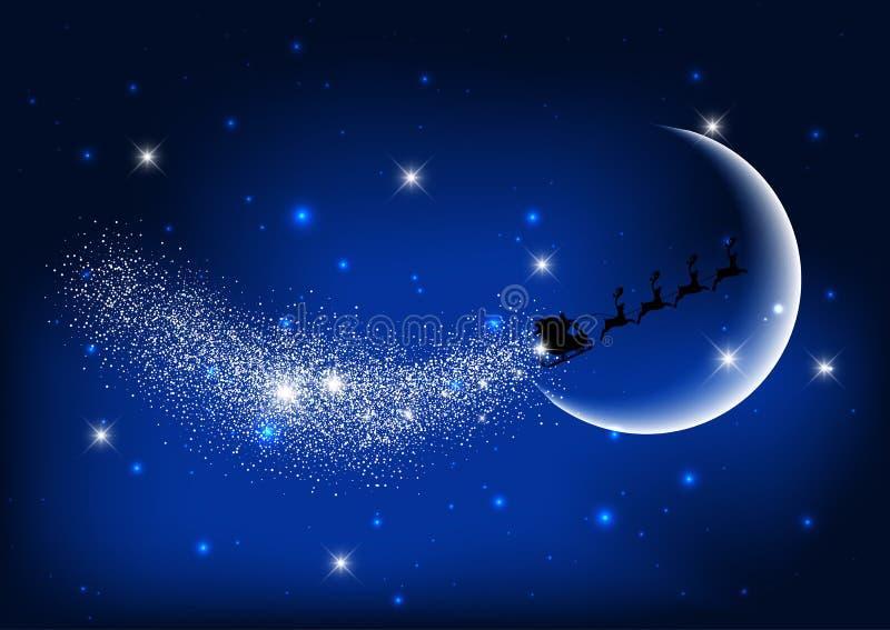 圣诞老人飞行通过夜空 皇族释放例证
