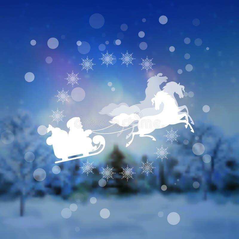 圣诞老人骑马雪橇圣诞节背景 向量例证