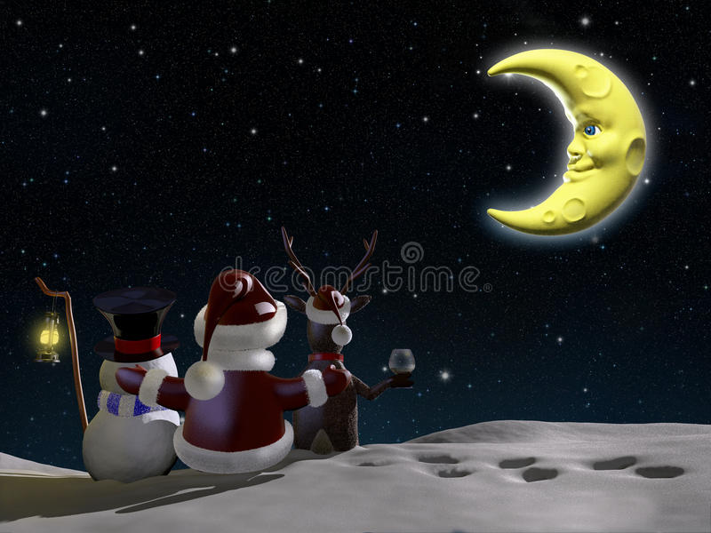 圣诞老人,驯鹿和冷淡 库存例证