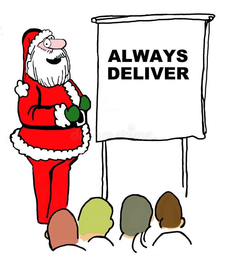圣诞老人说'总是交付' 向量例证
