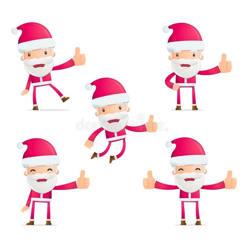 圣诞老人以各种各样的姿势 皇族释放例证