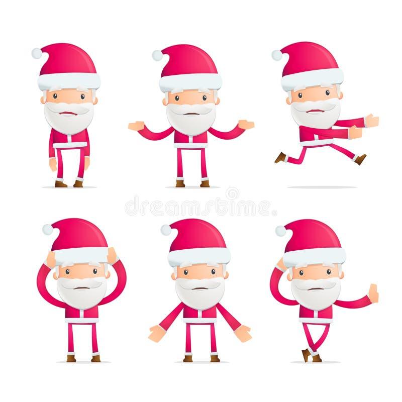圣诞老人以各种各样的姿势 库存例证