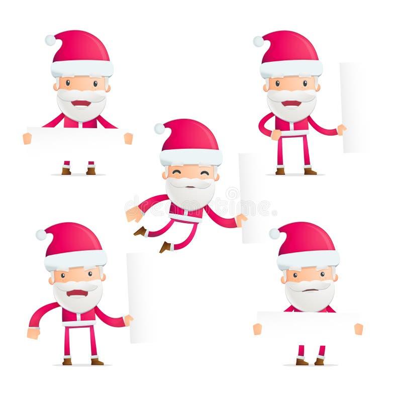 圣诞老人以各种各样的姿势 向量例证