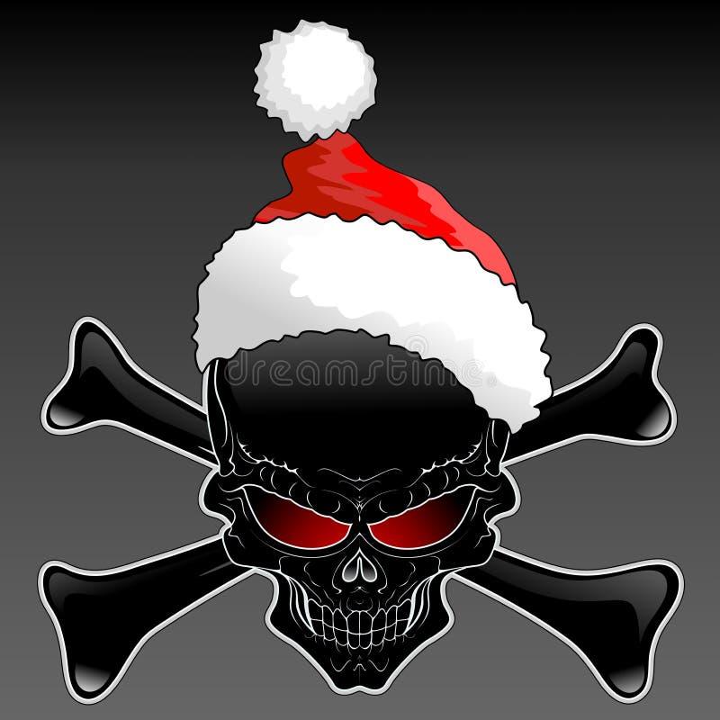 圣诞老人黑色头骨 库存例证