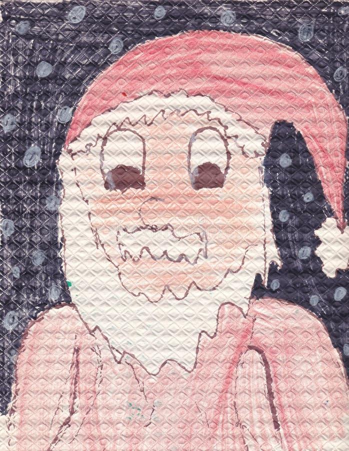 圣诞老人画象-原始的儿童(10年)例证 向量例证
