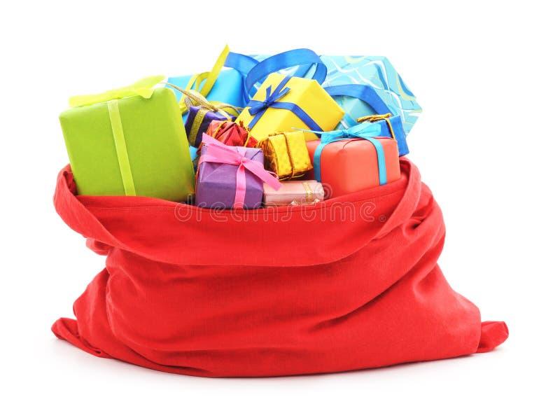 圣诞老人` s袋子礼物 库存图片