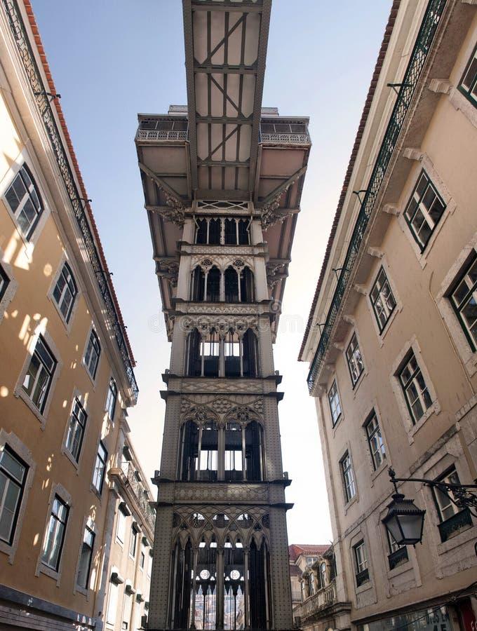 圣诞老人Justa推力在里斯本,葡萄牙 免版税库存照片