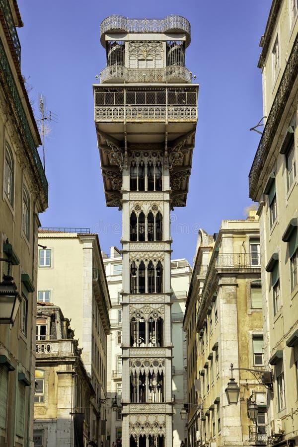 圣诞老人Justa推力在里斯本,葡萄牙 免版税库存图片