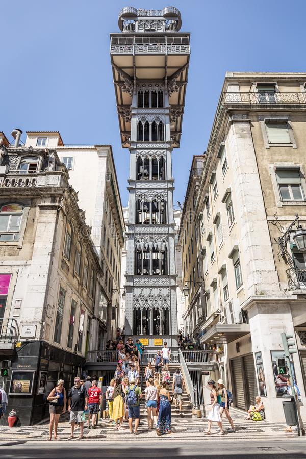 圣诞老人Justa推力在里斯本 葡萄牙 免版税库存图片