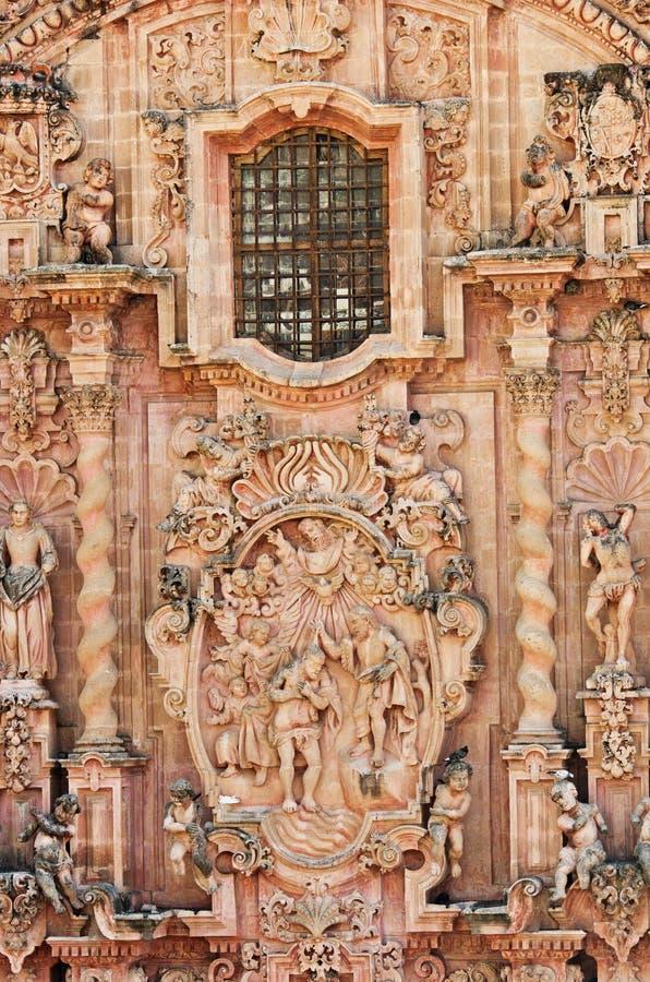圣诞老人Prisca教会细节在Taxco,墨西哥 免版税库存图片
