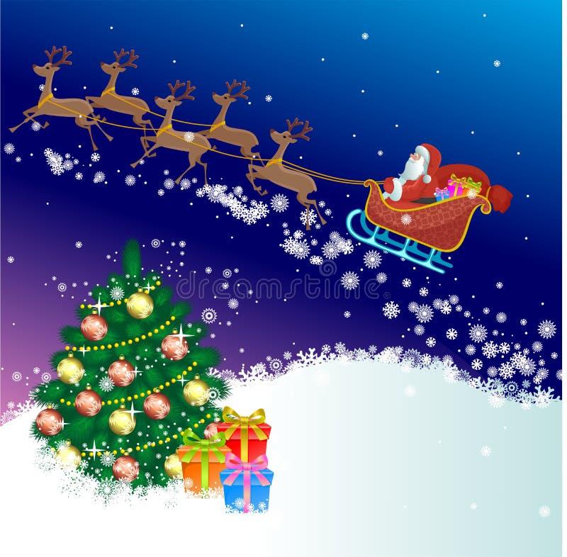 圣诞老人sledding 皇族释放例证