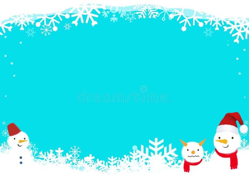 圣诞背景,蓝色上有雪人和雪花 插图设计 库存例证