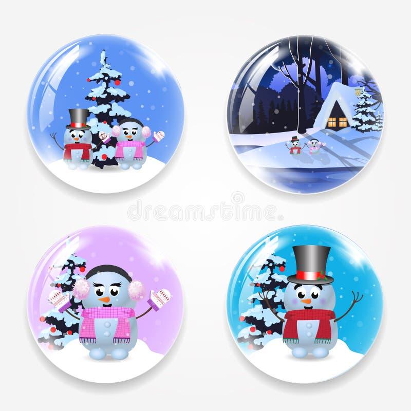 圣诞节、新年围绕玻璃crystall球地球设置与逗人喜爱的动画片雪人,在白色backgro和雪隔绝的冬天房子 皇族释放例证