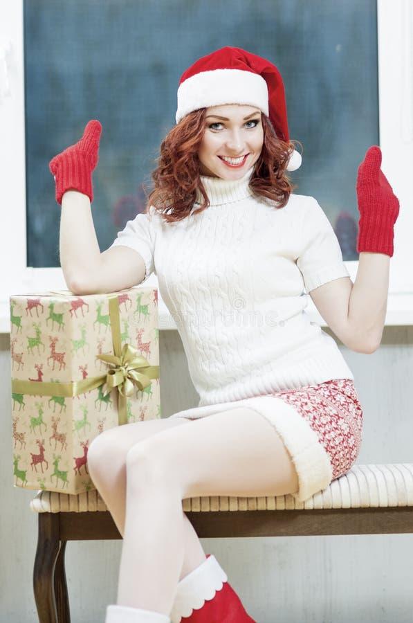 圣诞节、新年、X-Mas概念和庆祝 年轻Cauc 图库摄影