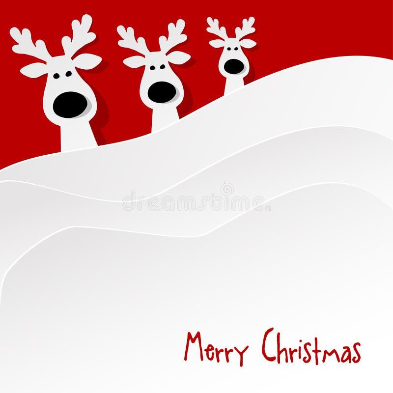 圣诞节三头驯鹿白色在红色背景 向量例证