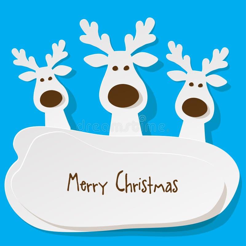 圣诞节三头驯鹿白色在绿松石背景的a 皇族释放例证