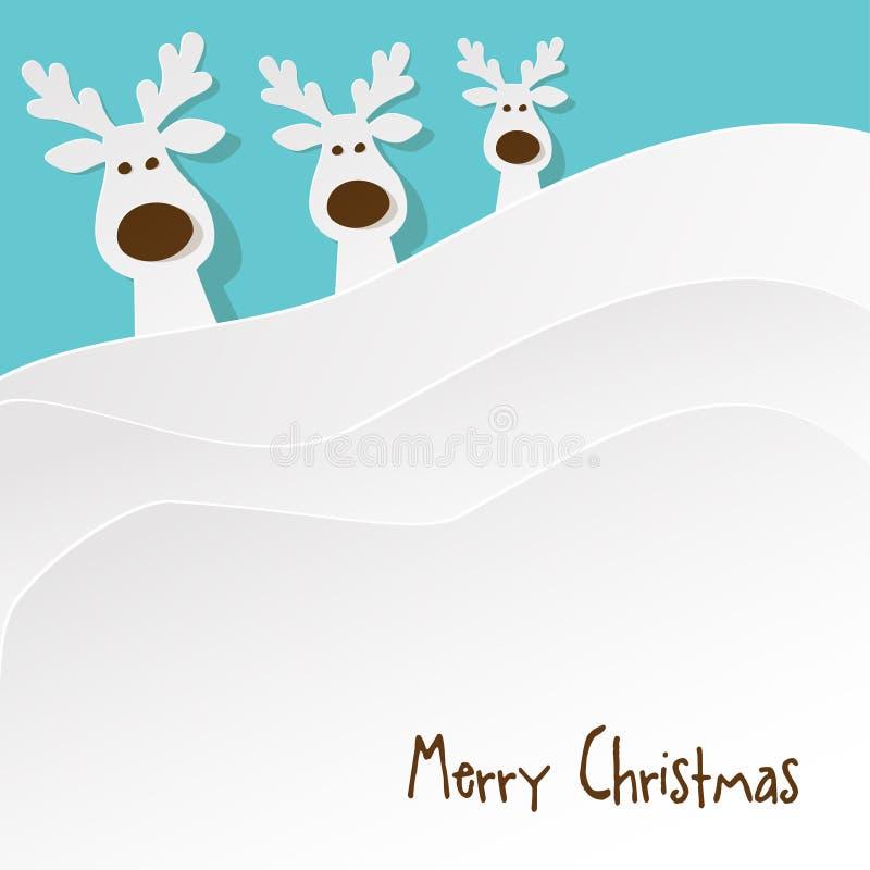 圣诞节三头驯鹿白色在绿松石背景的a 库存例证
