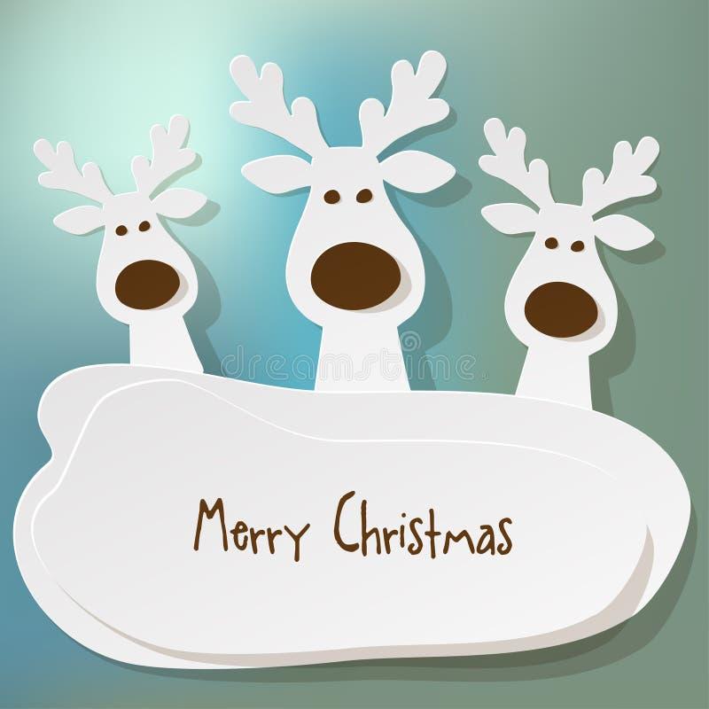 圣诞节三头驯鹿白色在被弄皱的纸棕色背景 向量例证
