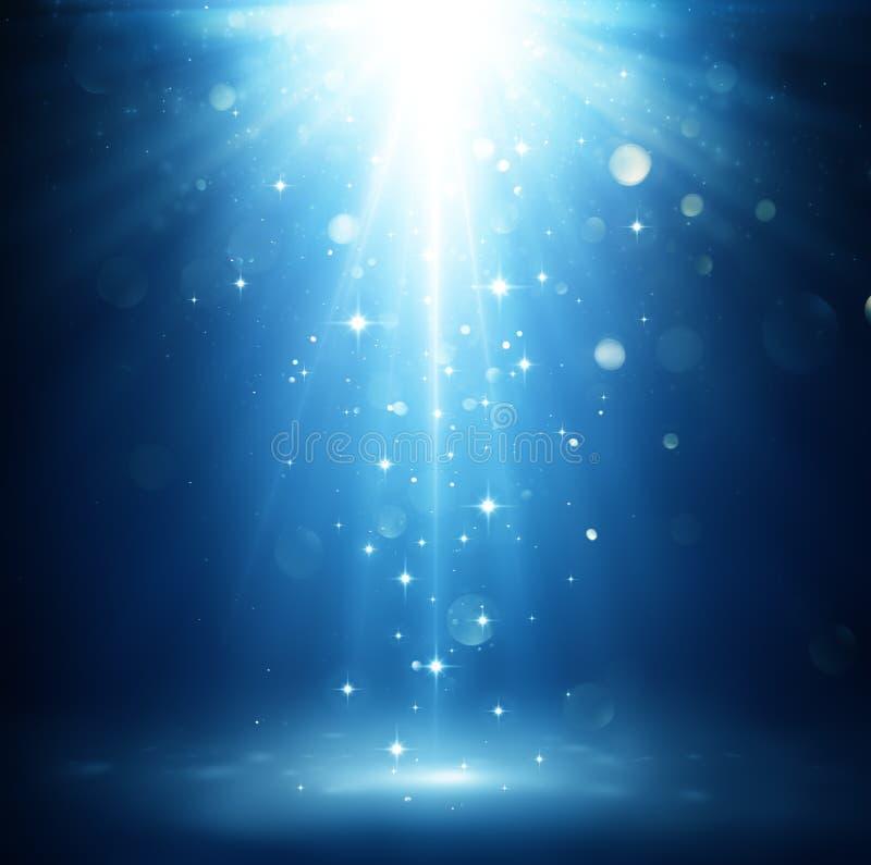 圣诞节不可思议夜光和星落 库存例证