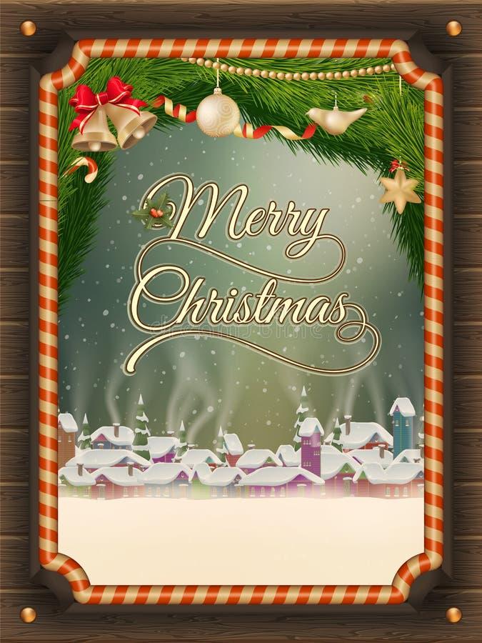圣诞节与冬天村庄的例证框架 向量例证