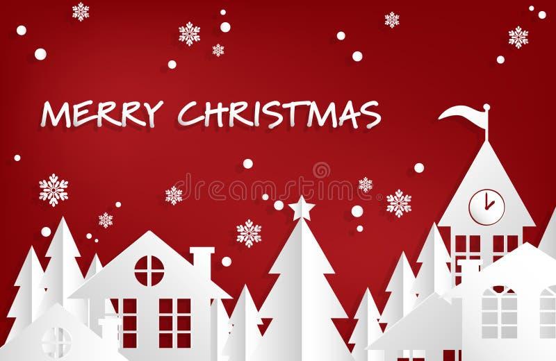 圣诞节与冬天雪都市乡下风景城市村庄的节日背景有雪花落的 向量例证