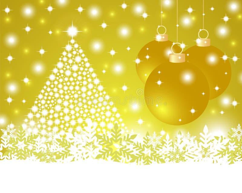 圣诞节与发光的圣诞树和球的金背景 库存例证