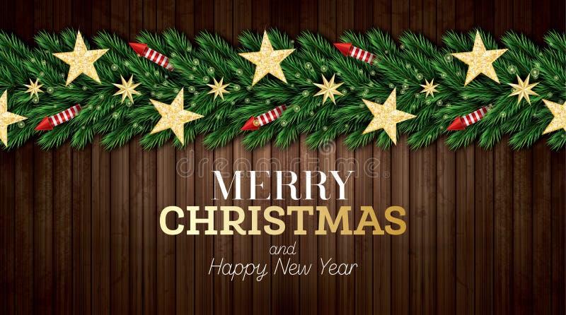 圣诞节与圣诞树分支、红色火箭队和金黄星的贺卡在木背景 库存例证