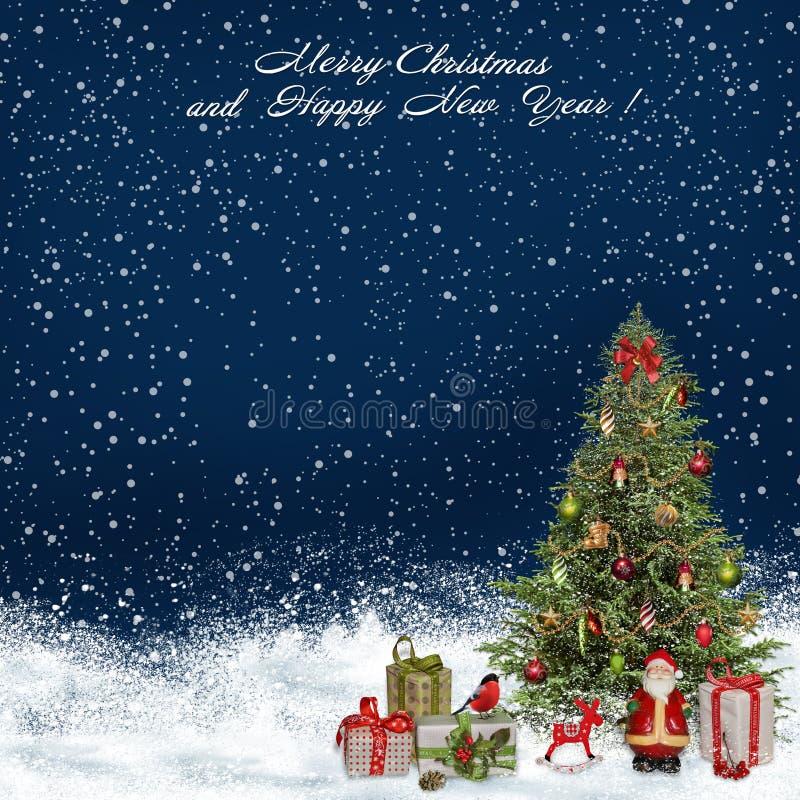 圣诞节与圣诞树和礼物的问候背景 向量例证