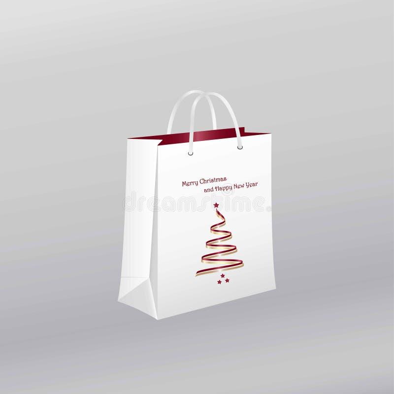 圣诞节与圣诞树的购物袋 库存例证