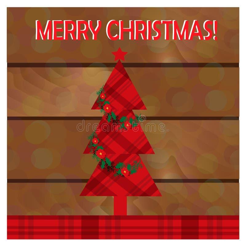 圣诞节与圣诞树的贺卡在木背景 库存照片