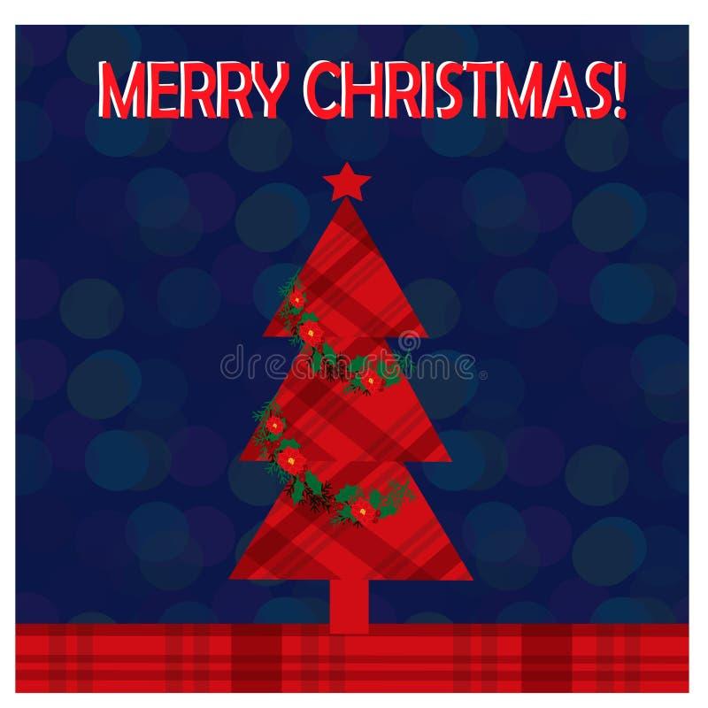 圣诞节与圣诞树的贺卡在迷离背景 免版税库存图片