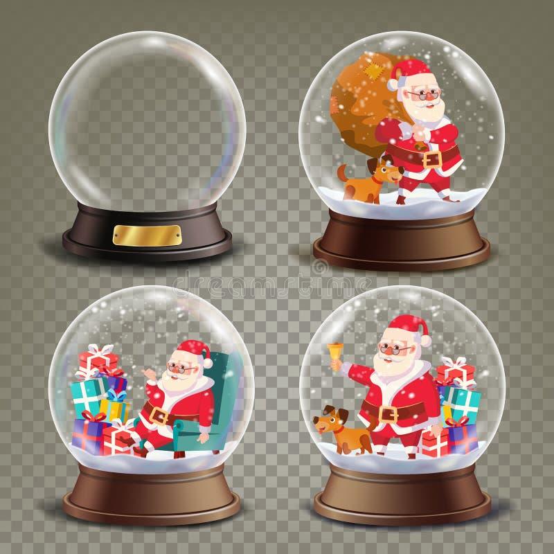 圣诞节与圣诞老人和礼物传染媒介的雪地球 现实3d雪地球玩具 冬天Xmas设计元素 库存例证